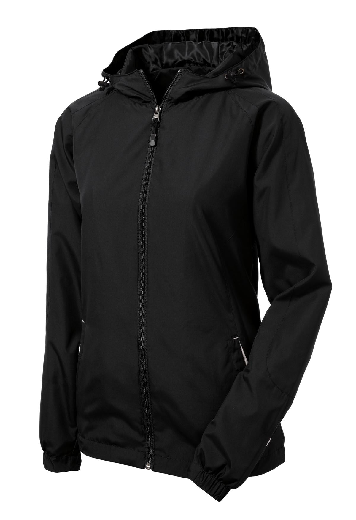 Mafoose Women's Colorblock Hooded Raglan Jacket Black/White-Front