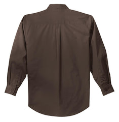 Mafoose Men's Tall Long Sleeve Easy Care Shirt Coffee Bean/ Light Stone-Back