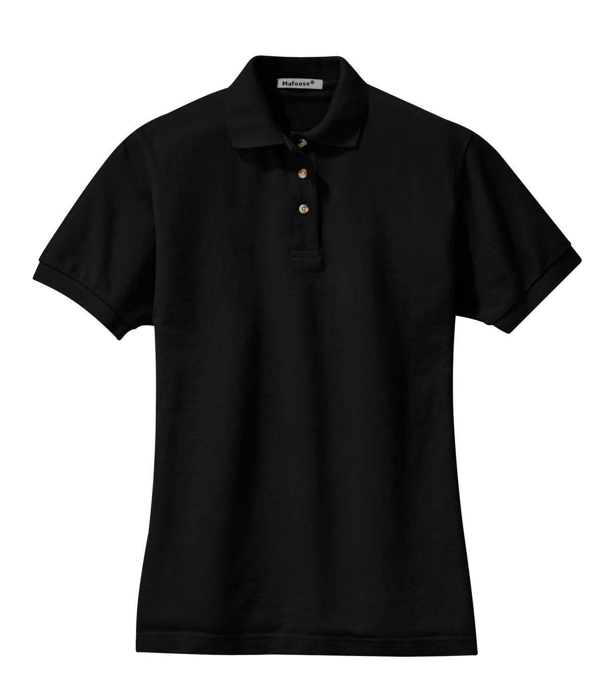 Mafoose Women's Heavyweight Cotton Pique Polo Shirt Black-Front