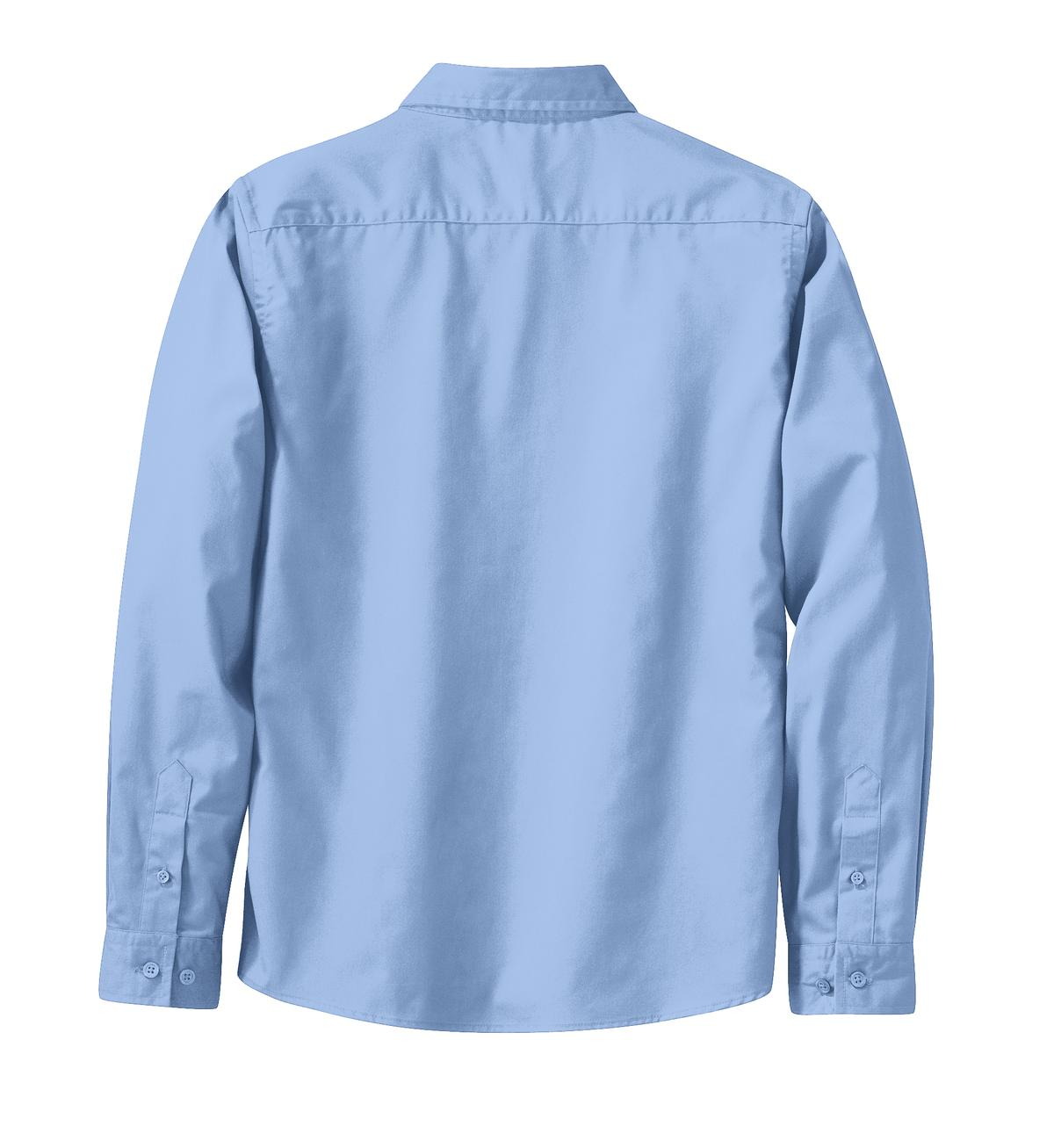 Mafoose Women's Long Sleeve Easy Care Shirt Light Blue/Light Stone-Back