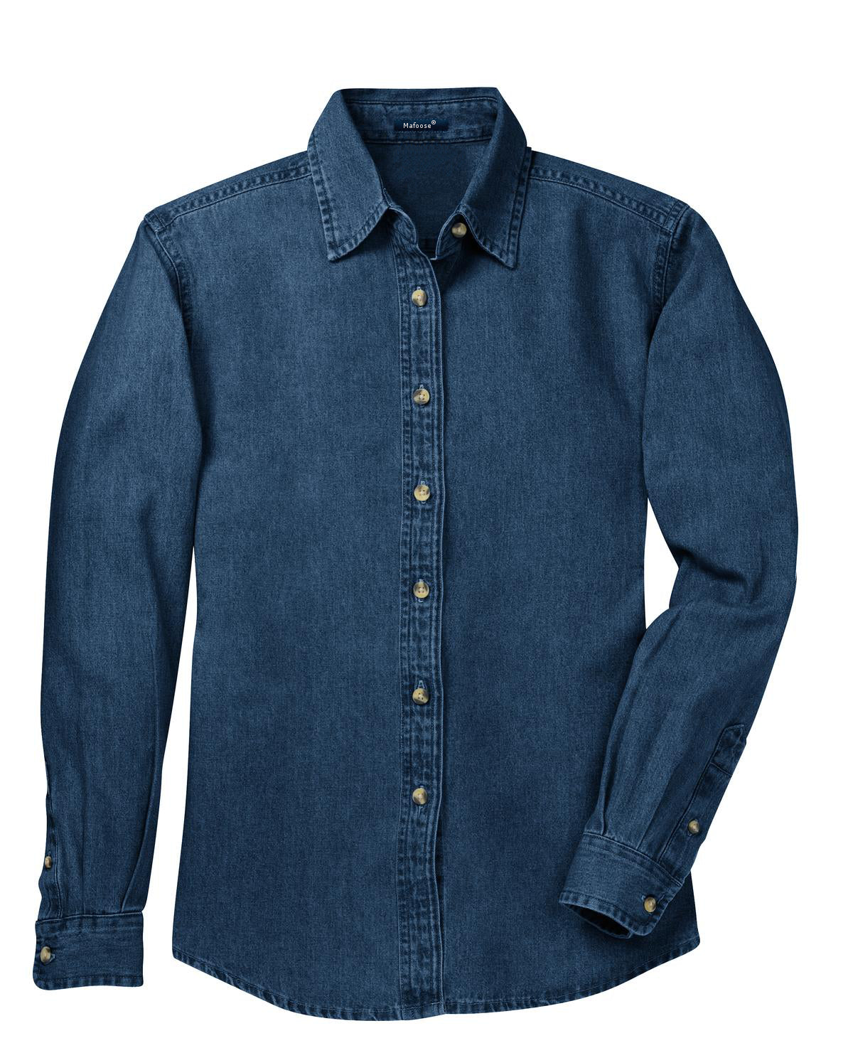 Mafoose Women's Long Sleeve Value Denim Shirt Ink Blue-Front