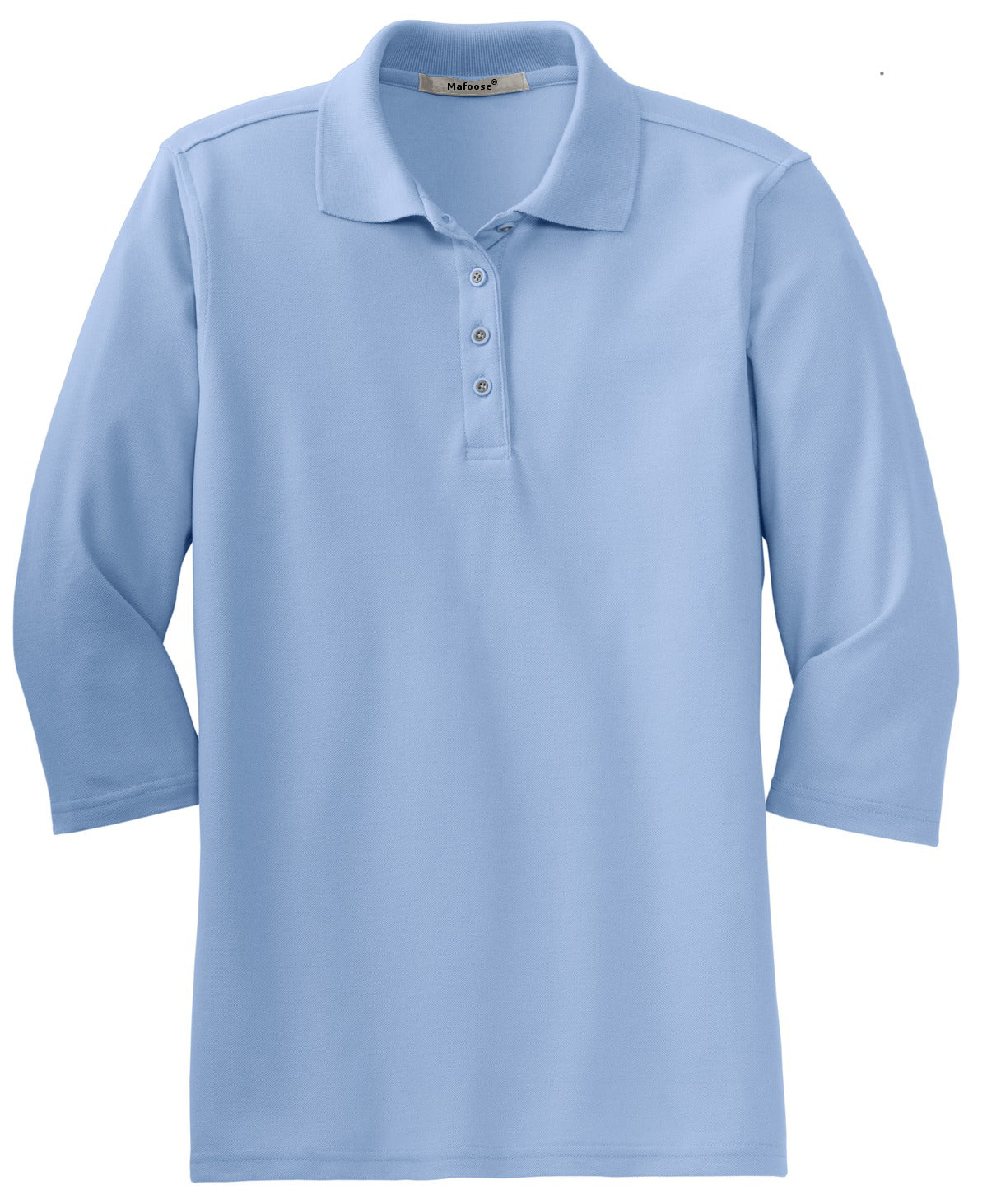 Mafoose Women's Silk Touch ¾ Sleeve Polo Shirt Light Blue-Front