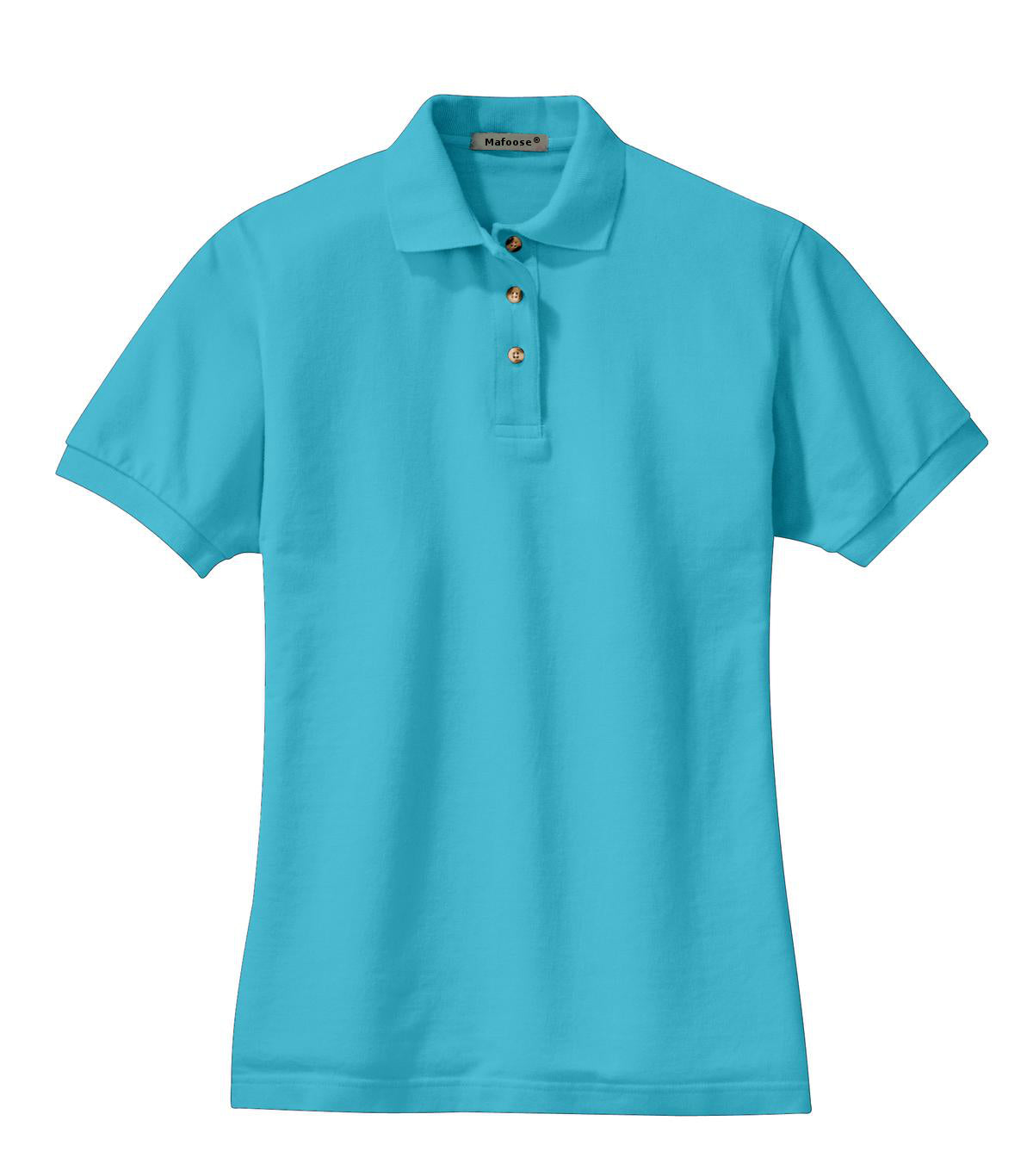 Mafoose Women's Heavyweight Cotton Pique Polo Shirt Turquoise-Front
