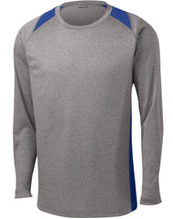 Mafoose Men's Long Sleeve Heather Colorblock Contender Tee Shirt Vintage Heather/ True Royal-Front