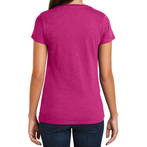 Women's Super Slub V-Neck Tee - Pink Azalea - Back