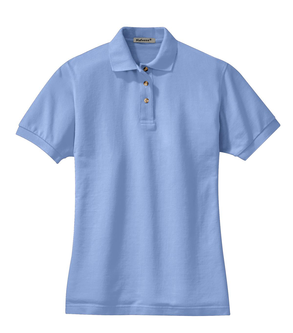 Mafoose Women's Heavyweight Cotton Pique Polo Shirt Light Blue-Front