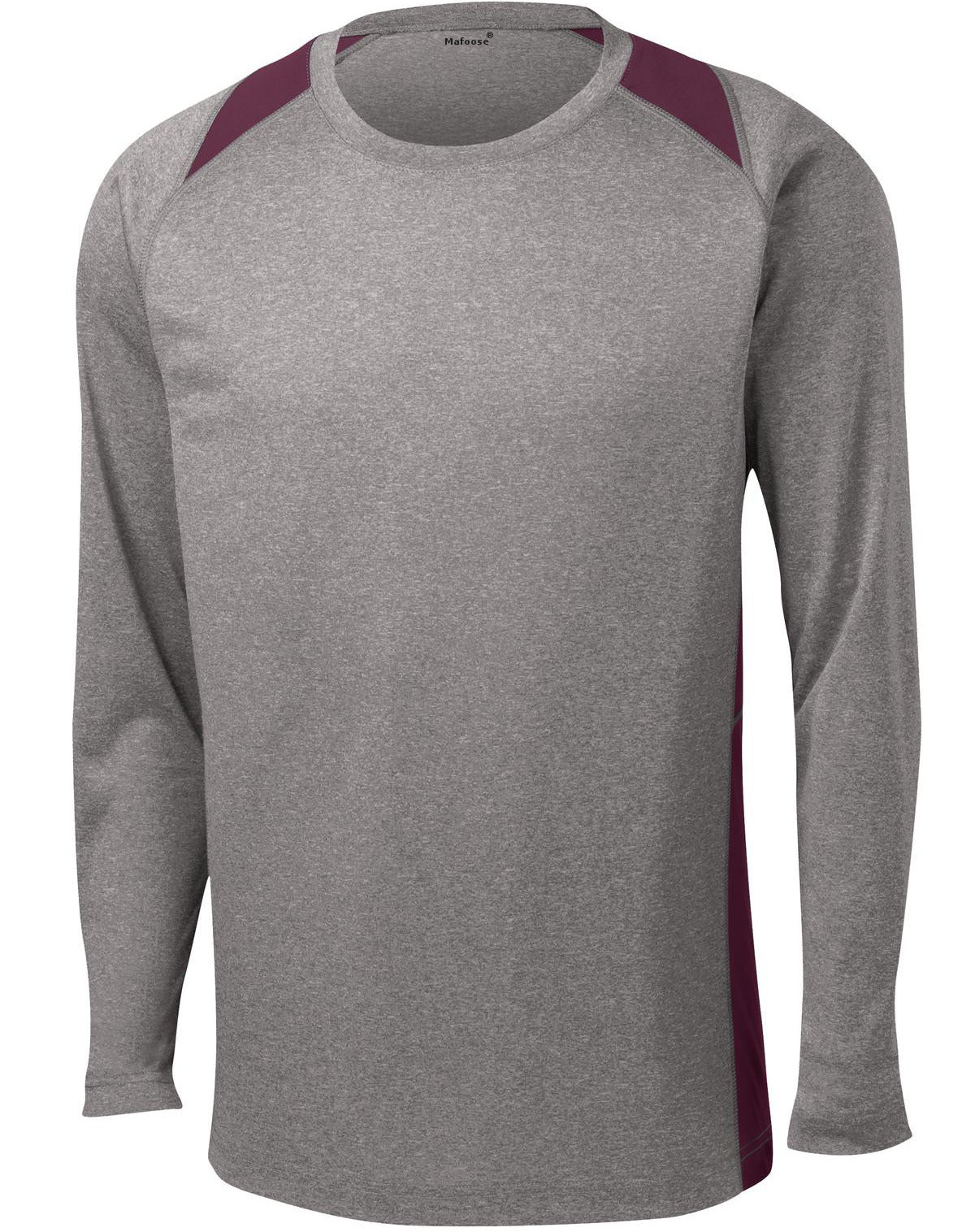 Mafoose Men's Long Sleeve Heather Colorblock Contender Tee Shirt Vintage Heather/ Maroon-Front