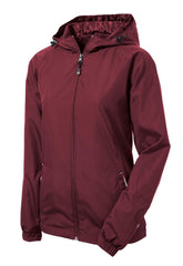 Mafoose Women's Colorblock Hooded Raglan Jacket Maroon/White-Front