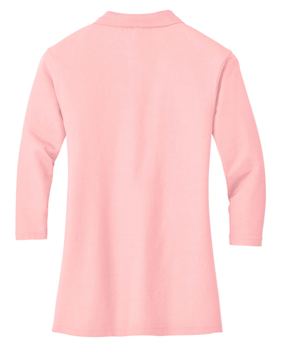 Mafoose Women's Silk Touch ¾ Sleeve Polo Shirt Light Pink-Back