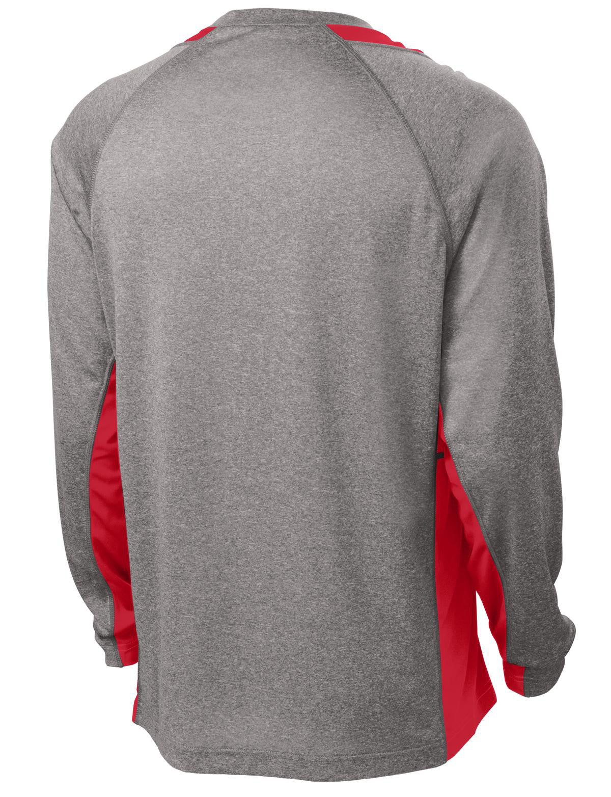 Mafoose Men's Long Sleeve Heather Colorblock Contender Tee Shirt Vintage Heather/ True Red-Back
