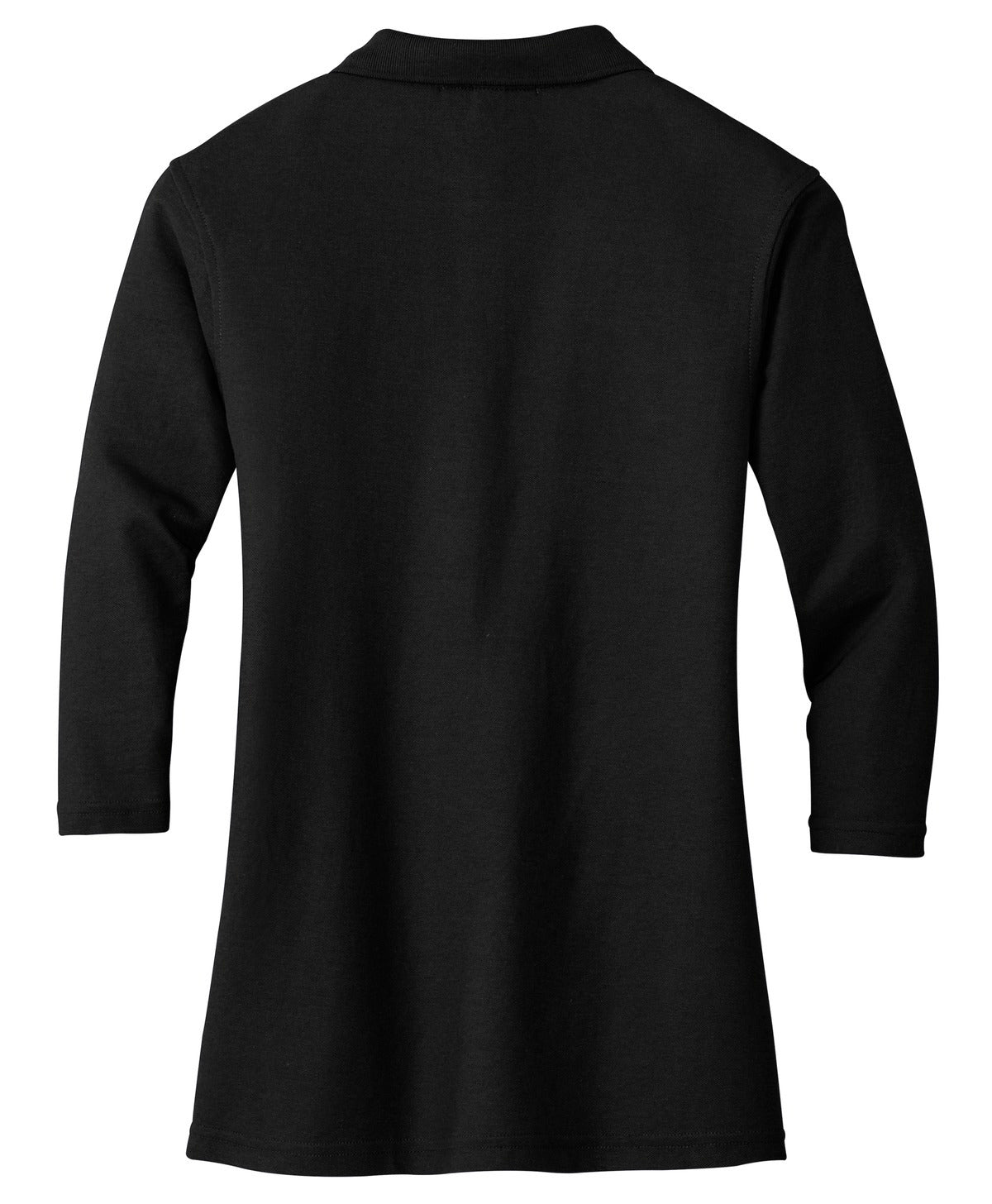 Mafoose Women's Silk Touch ¾ Sleeve Polo Shirt Black-Back