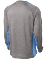 Mafoose Men's Long Sleeve Heather Colorblock Contender Tee Shirt Vintage Heather/ Carolina Blue-Back