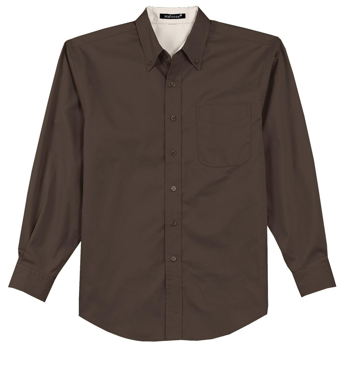 Mafoose Men's Tall Long Sleeve Easy Care Shirt Coffee Bean/ Light Stone-Front