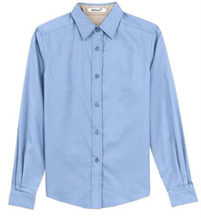 Mafoose Women's Long Sleeve Easy Care Shirt Light Blue/Light Stone-Front