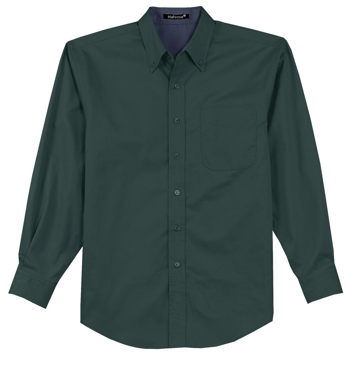 Mafoose Men's Tall Long Sleeve Easy Care Shirt Dark Green/ Navy-Front