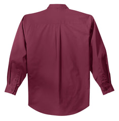 Mafoose Men's Tall Long Sleeve Easy Care Shirt Burgundy/ Light Stone-Back