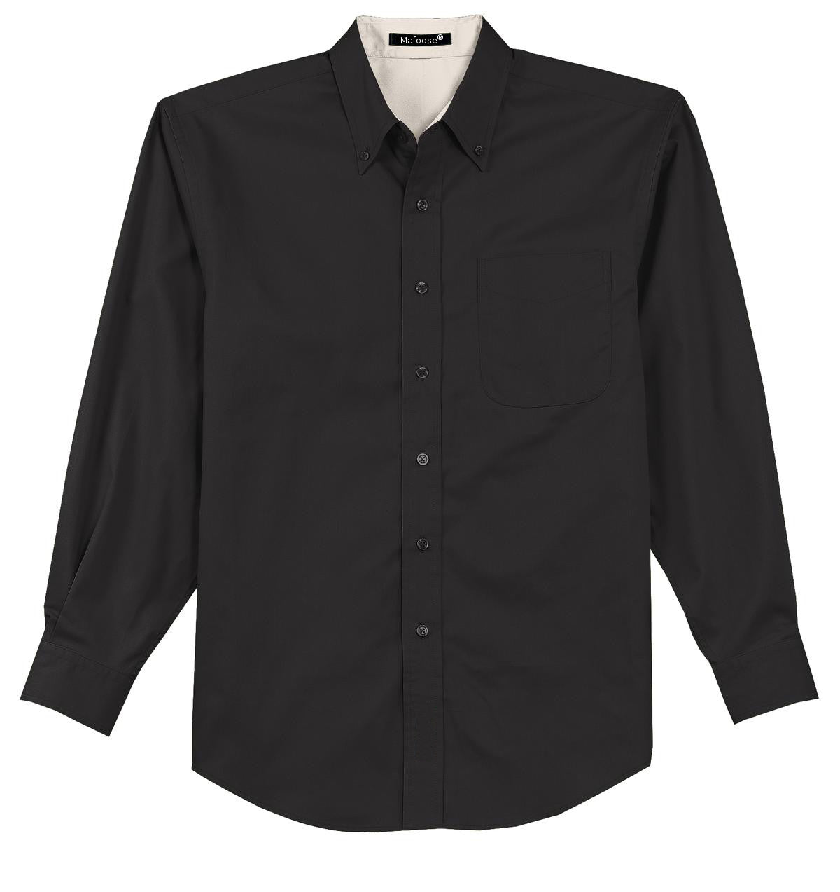 Mafoose Men's Tall Long Sleeve Easy Care Shirt Black/ Light Stone-Front