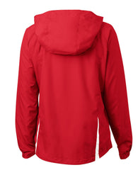 Mafoose Women's Colorblock Hooded Raglan Jacket True Red/White-Back