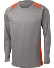 Mafoose Men's Long Sleeve Heather Colorblock Contender Tee Shirt Vintage Heather/ Deep Orange-Front