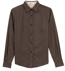 Mafoose Women's Long Sleeve Easy Care Shirt Coffee Bean/Light Stone-Front