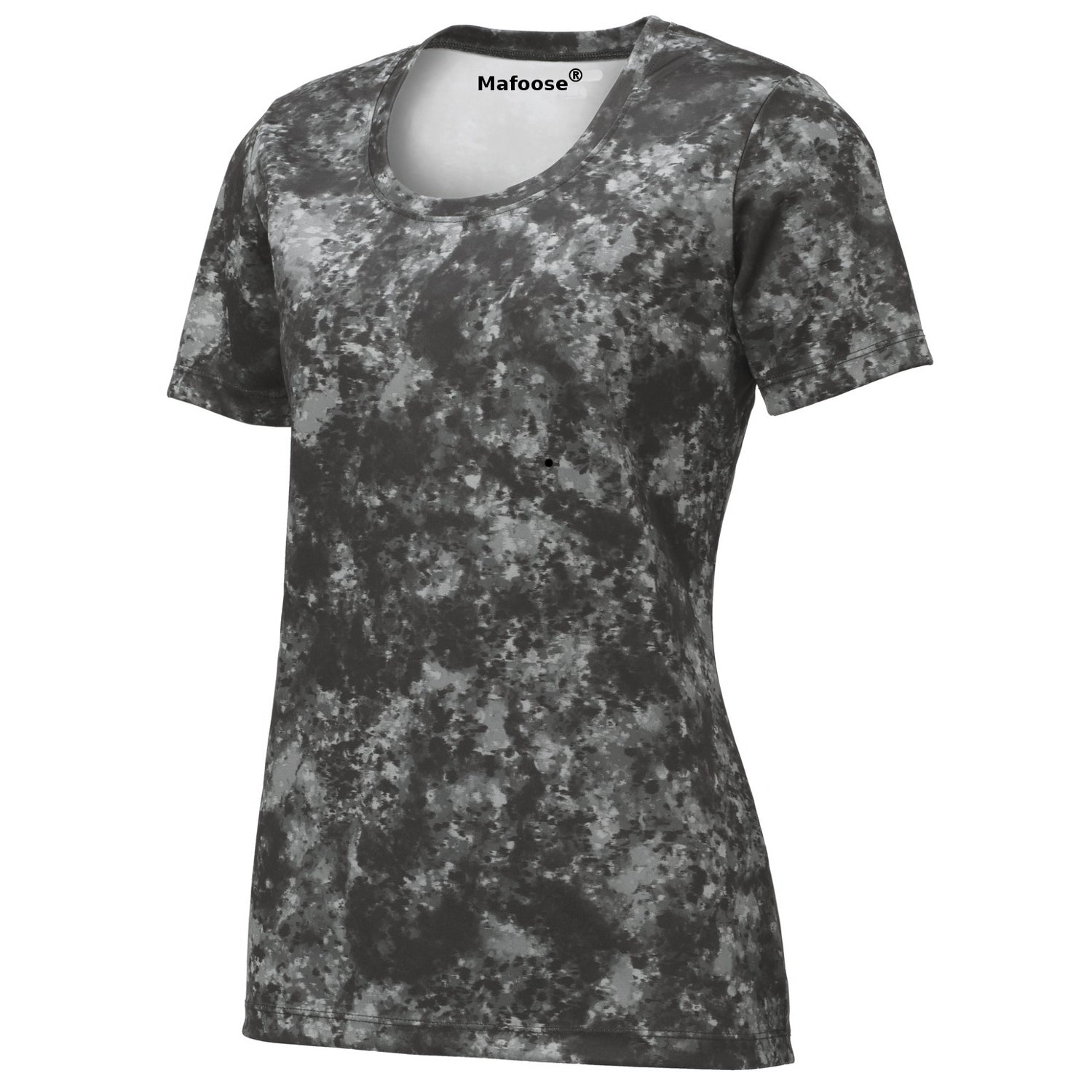 Mafoose Ladies Mineral Freeze Scoop Neck Tee Shirt Black-Front
