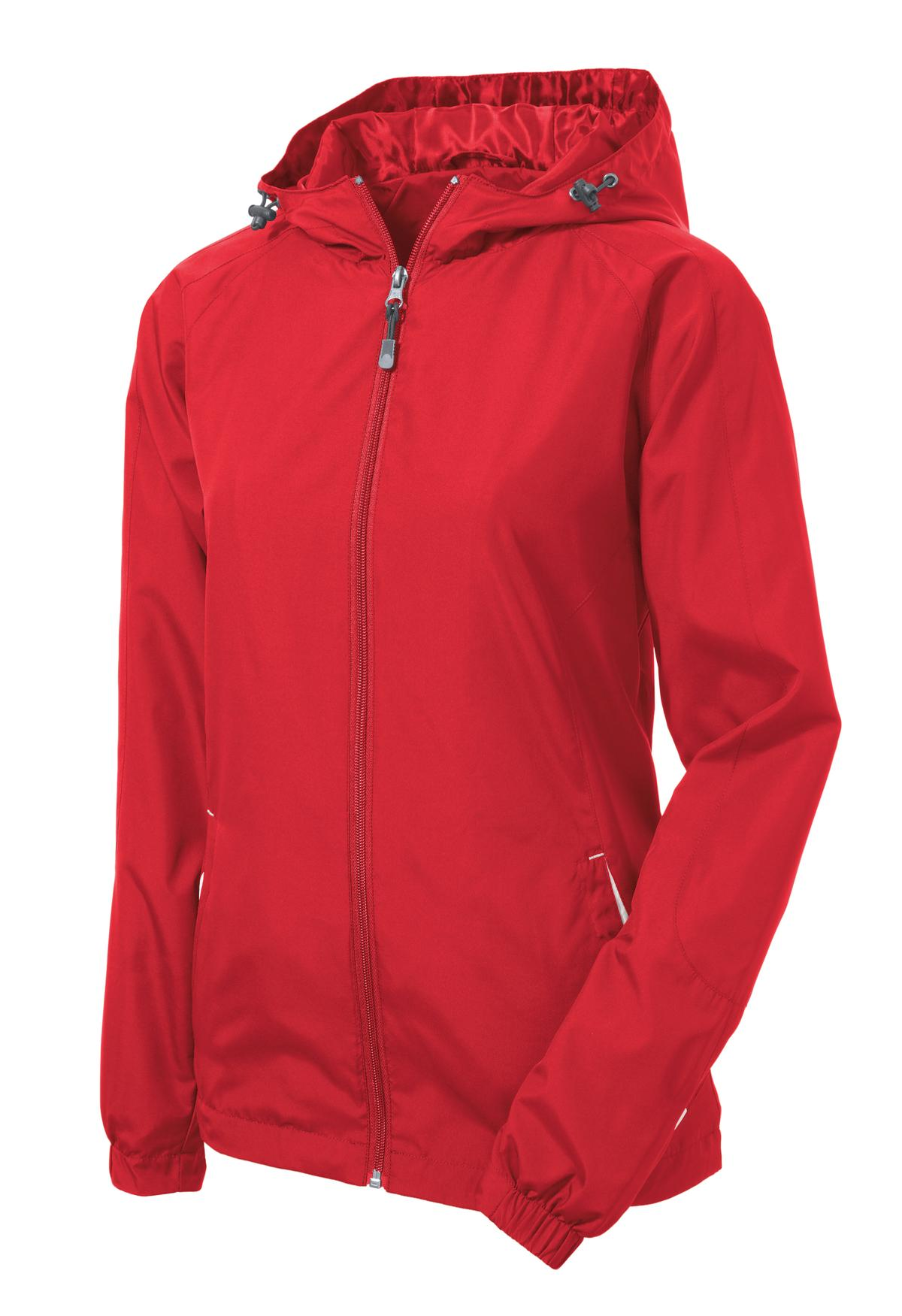 Mafoose Women's Colorblock Hooded Raglan Jacket True Red/White-Front