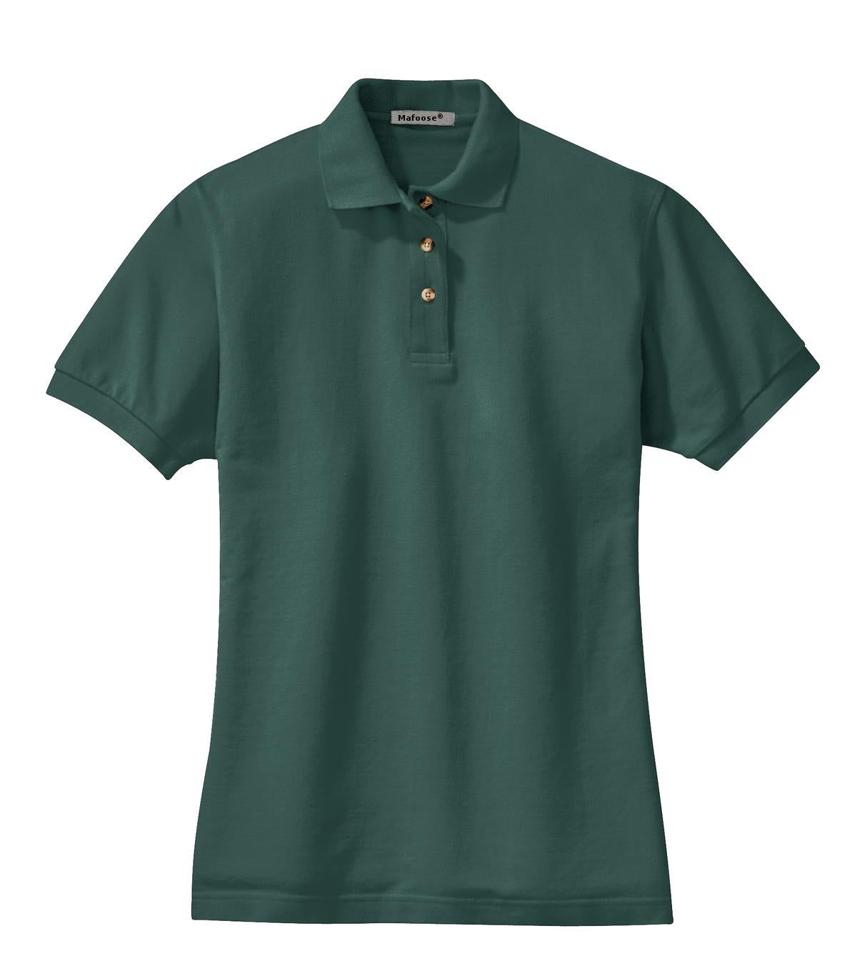 Mafoose Women's Heavyweight Cotton Pique Polo Shirt Dark Green-Front