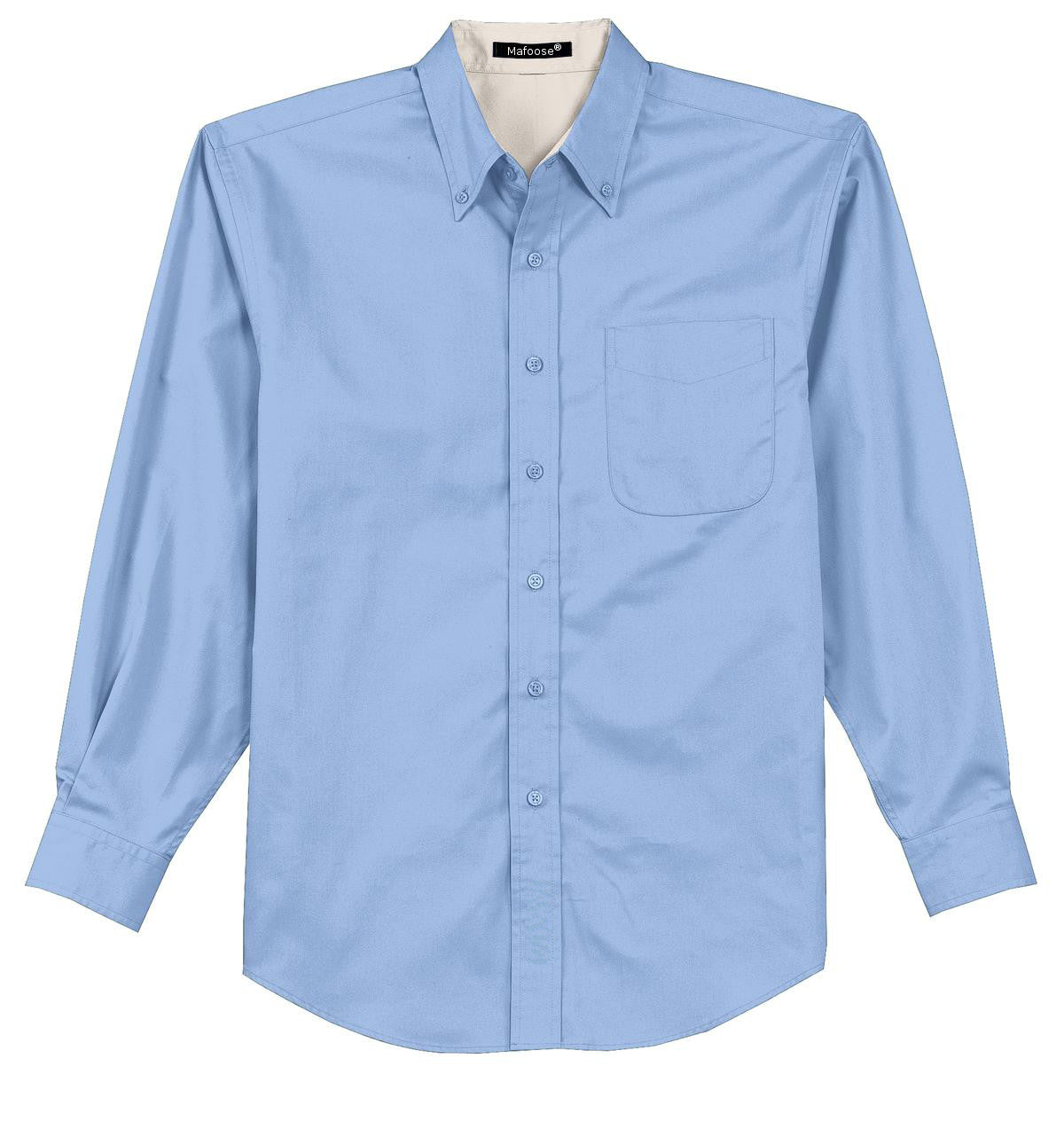 Mafoose Men's Tall Long Sleeve Easy Care Shirt Light Blue/ Light Stone-Front