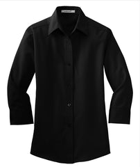 Mafoose Women's 3/4-Sleeve Traditional Easy Care Shirt Black-Front