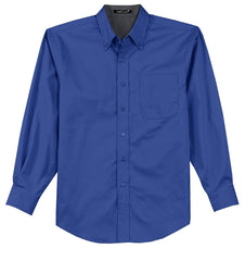 Mafoose Men's Tall Long Sleeve Easy Care Shirt Royal/ Classic Navy-Front
