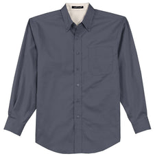 Mafoose Men's Tall Long Sleeve Easy Care Shirt Steel Grey/ Light Stone-Front