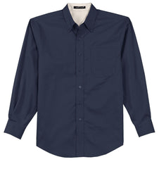 Mafoose Men's Tall Long Sleeve Easy Care Shirt Navy/ Light Stone-Front