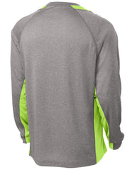 Mafoose Men's Long Sleeve Heather Colorblock Contender Tee Shirt Vintage Heather/ Lime Shock-Back