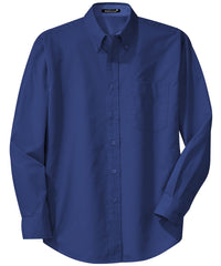 Mafoose Men's Tall Long Sleeve Easy Care Shirt Mediterranean Blue-Front