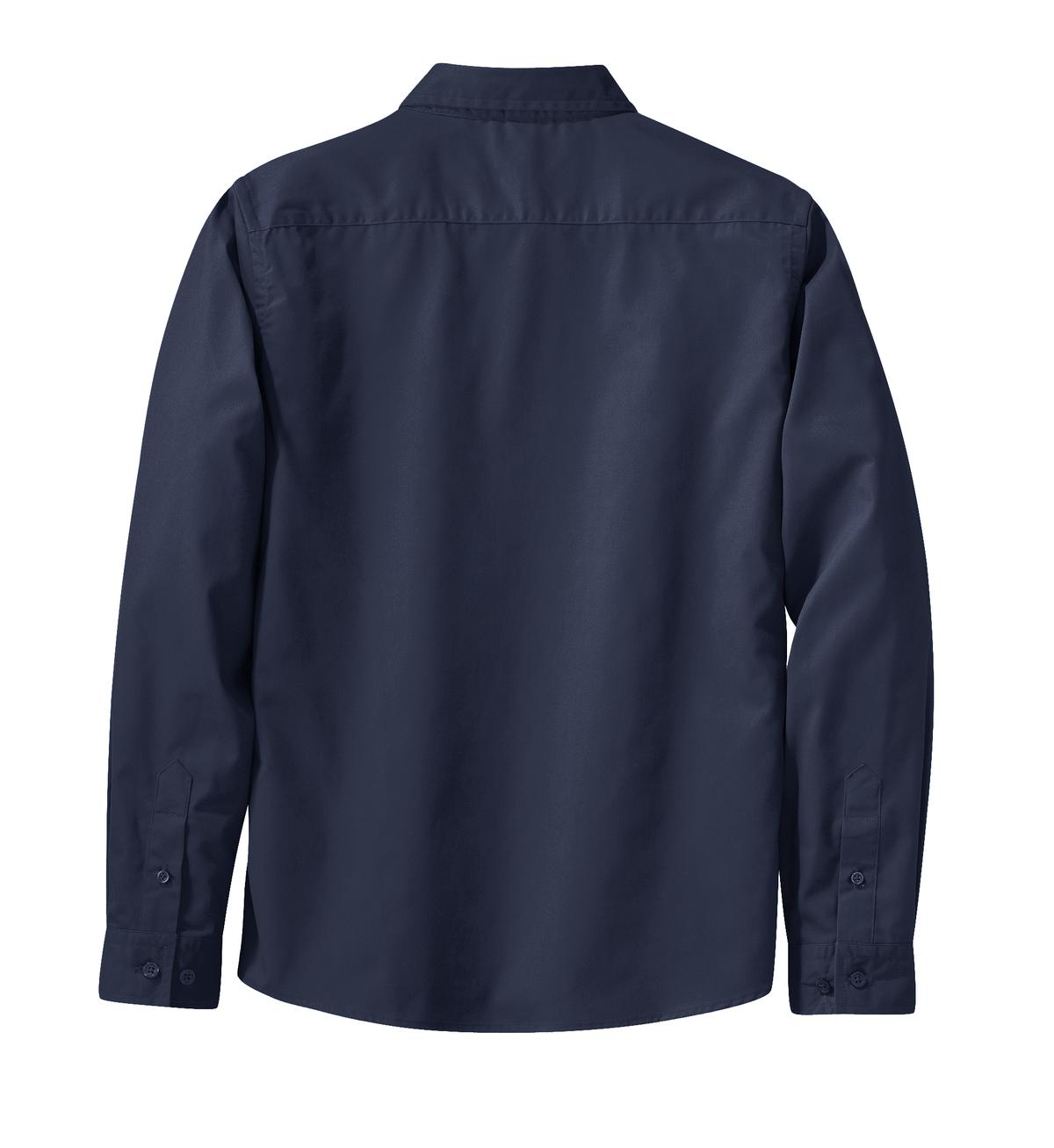 Mafoose Women's Long Sleeve Easy Care Shirt Navy/Light Stone-Back