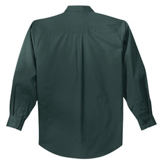 Mafoose Men's Tall Long Sleeve Easy Care Shirt Dark Green/ Navy-Back