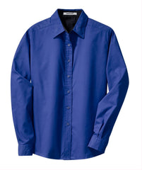 Mafoose Women's Long Sleeve Easy Care Shirt Royal/ Classic Navy-Front