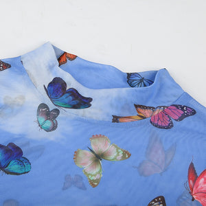 BUTTERFLY PARTY MESH CROP TOP