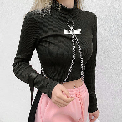RIBBED CHAINS TURTLENECK TOP