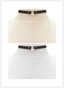 Black leather round choker necklace