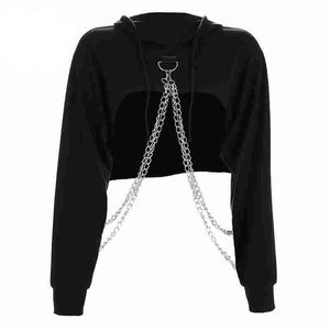 Chain Black Cropped Hooded Sweatshirt
