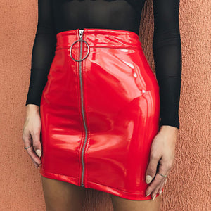 Leather Mini Skirt High Waist