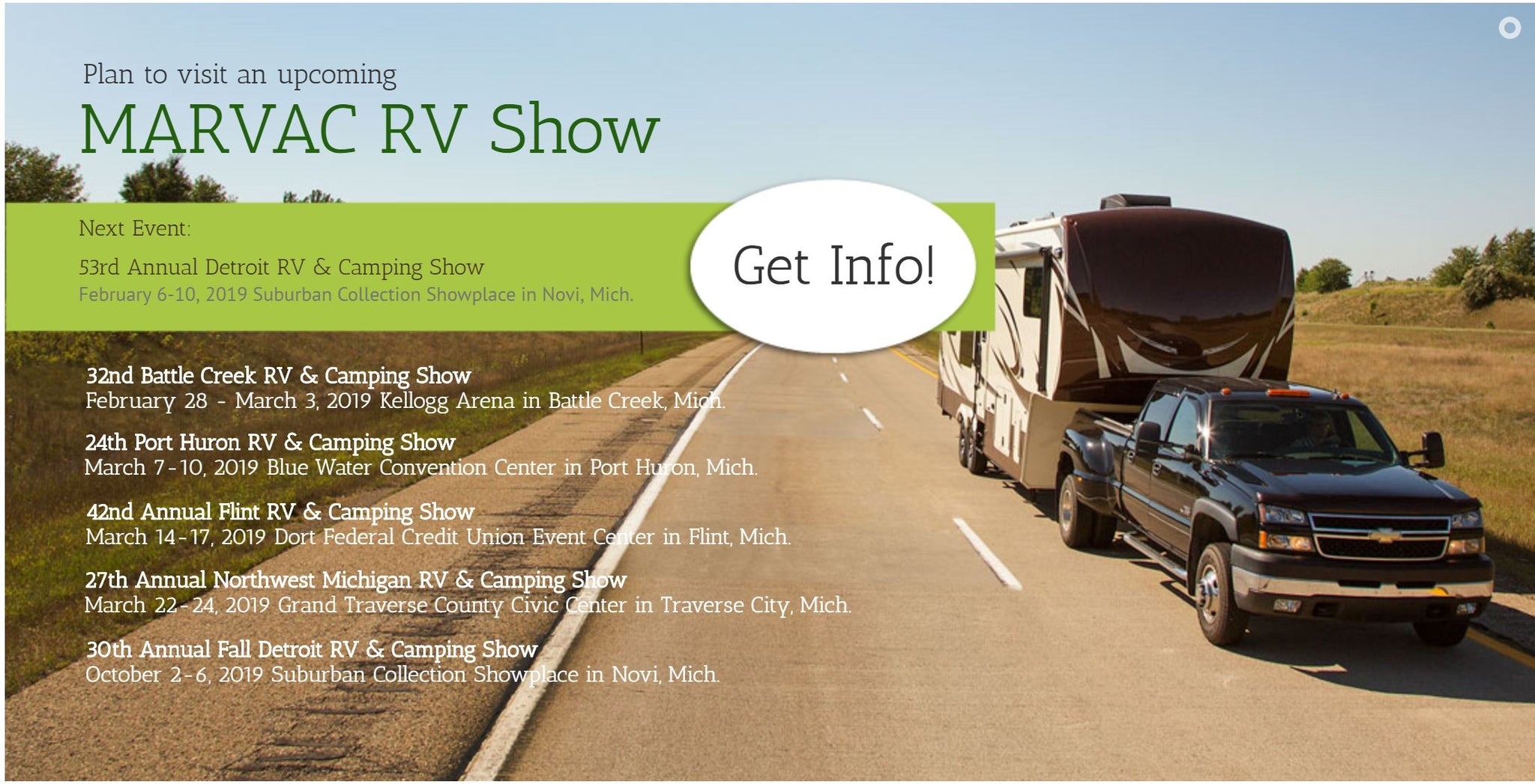 February 2019 - Come visit us at the 53rd Annual Detroit RV & Camping Show @ Suburban Collection Showplace