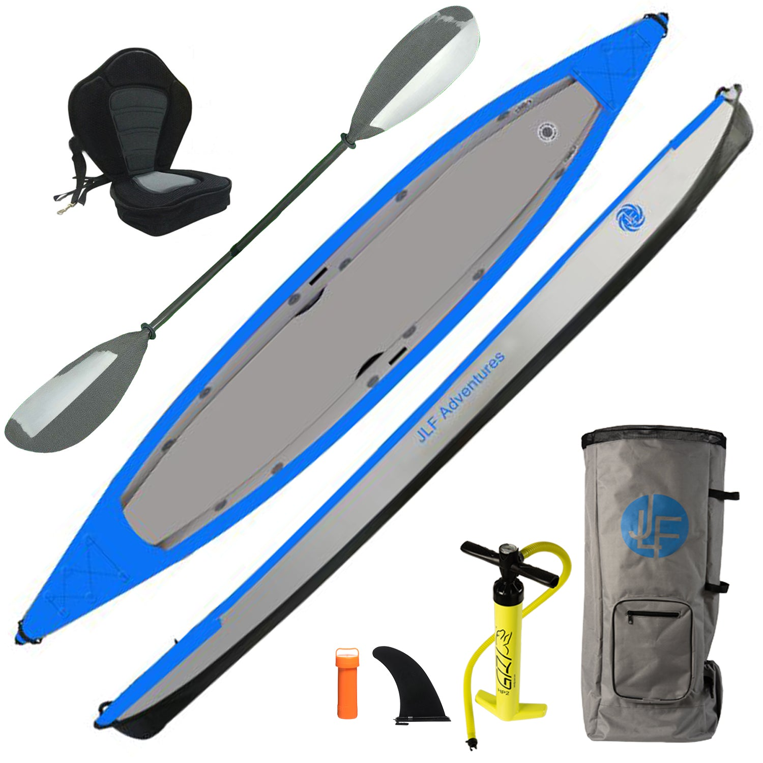 *NEW* JLF 12 Ft + 9 In Inflatable Sit-Inside Kayak Set | Includes: Kayak, Carbon Fiber Paddle, Detachable Padded Kayak Seat, Dual Action Hand Pump, Backpack