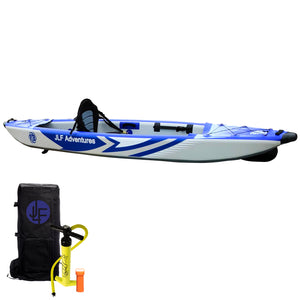JLF 11 FT Inflatable Kayak Set | Includes:  Kayak, Adjustable Foot Rests, Detachable Padded Kayak Seat, Dual Action Hand Pump, Backpack [Paddle Sold Separately]