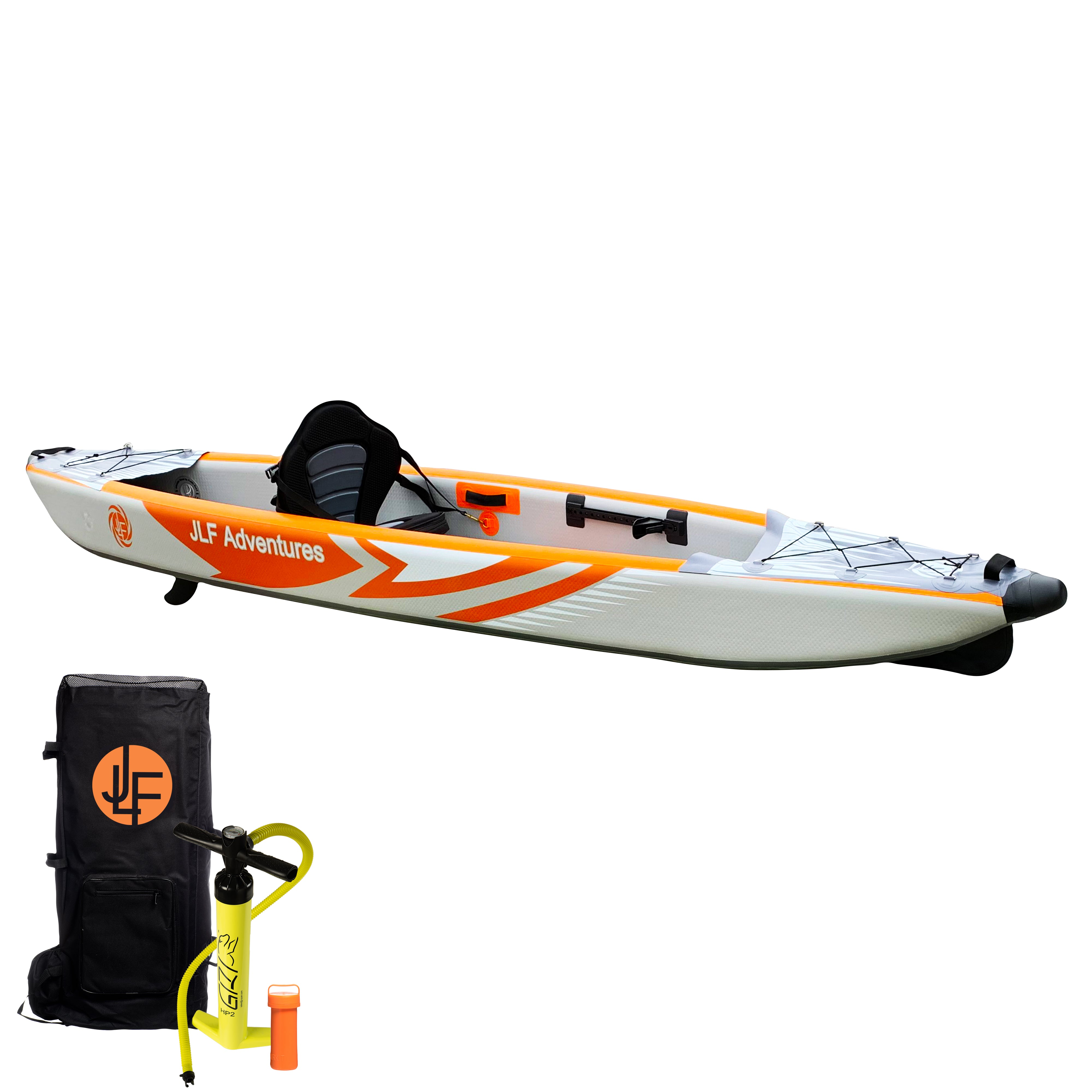 JLF 12 FT Inflatable Kayak Set | Includes:  Kayak, Adjustable Foot Rests, Detachable Padded Kayak Seat, Dual Action Hand Pump, Backpack [Paddle Sold Separately]