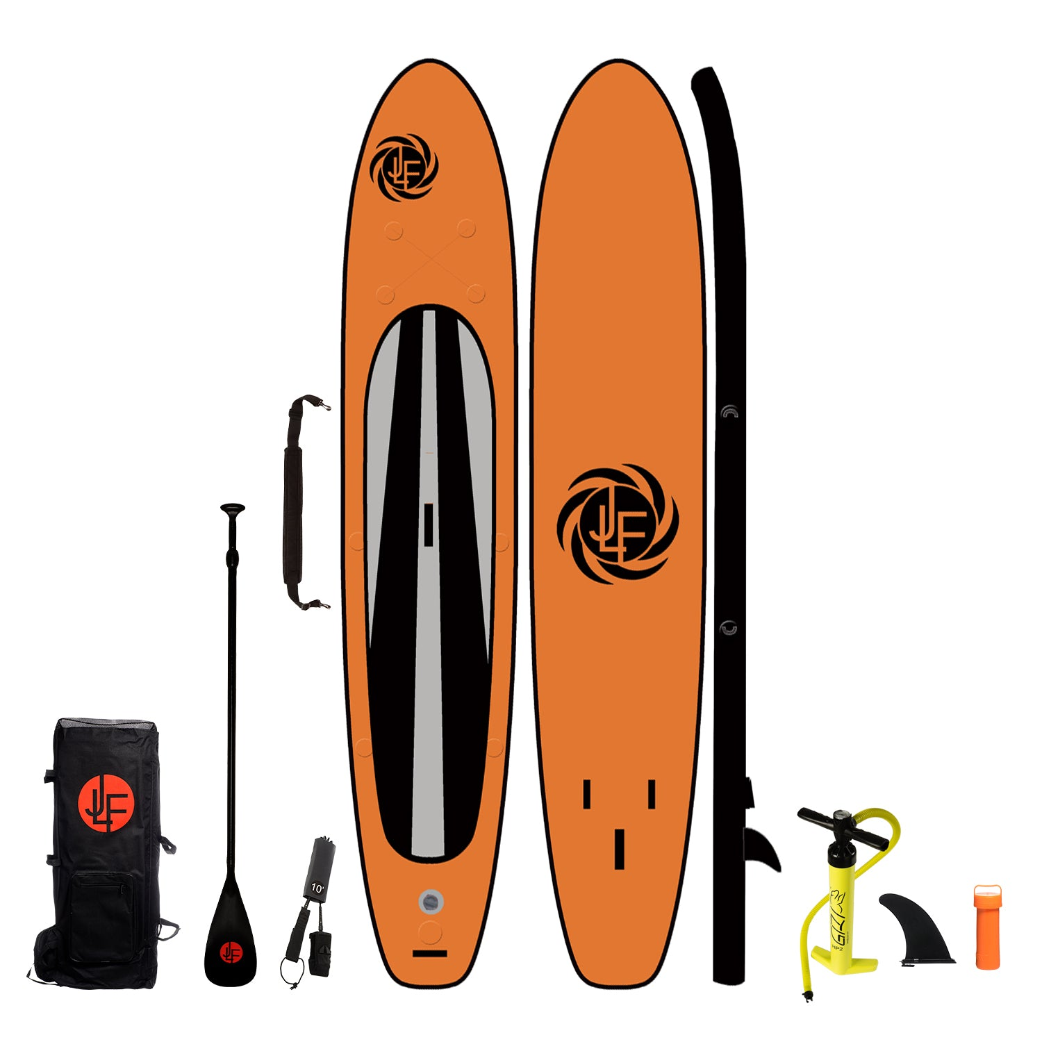 LIMITED EDITION:  JLF 15 Ft Inflatable Stand Up Paddle Board (SUP) Complete Set | Includes Fiberglass Paddle, Carry Strap, Dual Action Hand Pump, Leash, Backpack