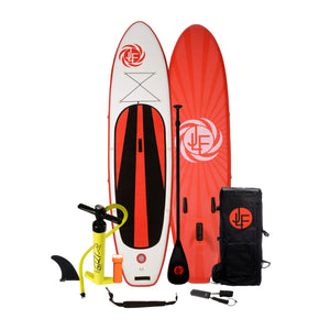 JLF 11 Ft Inflatable Stand Up Paddle Board (SUP) Complete Set | Includes Fiberglass Paddle, Carry Strap, Dual Action Hand Pump, Leash, Backpack