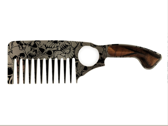 Premium Thick Beard Comb No.3 – Skulls - Bisson Combs