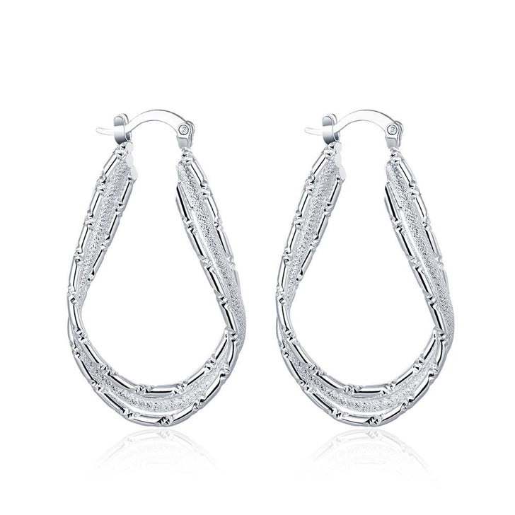 Diamond Cut Inception Hoop Drop Earring in White Gold Plated